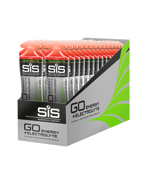 SiS GO Energy + Electrolyte Gel 30 Pack - Salted Strawberry (Limited Edition)